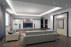 3d rendono l'interiore moderno del salone 1 Fotografia Stock Libera da Diritti