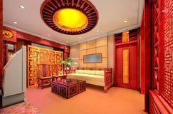 3d rendono l'interiore moderno del salone Fotografie Stock