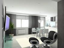 3D rendono l'interiore moderno del salone Immagini Stock Libere da Diritti