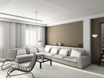 3D rendono l'interiore moderno del salone Fotografia Stock