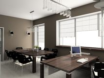 3D rendono l'interiore moderno dell'ufficio Fotografie Stock Libere da Diritti