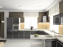 3D rendono l'interiore moderno della cucina Fotografie Stock Libere da Diritti