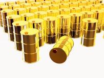 3D a rendu des tonneaux à huile d'or Images libres de droits