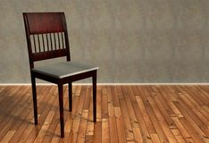 3d renovated retro chair on wooden floor Royalty Free Stock Photos