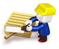 3d repairman working with firewood and saw Stock Photography