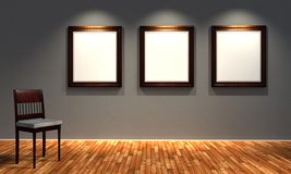 3d retro frames with old fashioned chair. Render Royalty Free Stock Image