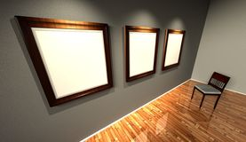 3d retro frames with old fashioned chair. Render Royalty Free Stock Photography