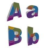 3D retro funky alfabetten Stock Foto