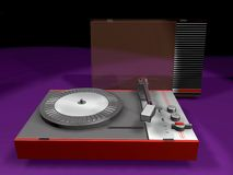 3D retro turntable. A 3D model of one of the famous items of the seventies, a portable battery powered turntable, retro cult Stock Photos