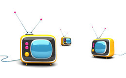 3d Retro tv sets. Isolated on white Royalty Free Stock Photos