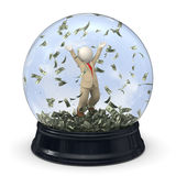 3d rich business man in snow globe - Money rain Stock Image