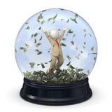 3d rich business man in snow globe - Money rain. 3d rendered rich business man in suit, jumping in money rain in a snow globe Stock Image