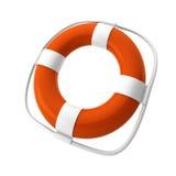 3d rinden de lifebuoy anaranjado en blanco ilustración del vector