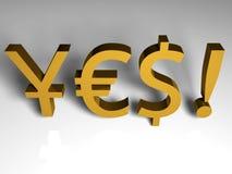 3D rinden de símbolos japoneses, del euro y del dólar. Fotos de archivo libres de regalías