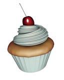 3d rinden del cup-cake con el fraiche y la cereza del crme Imágenes de archivo libres de regalías