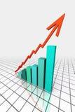 3d rinden el gráfico de asunto con ir para arriba flecha stock de ilustración