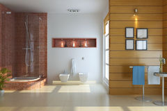 3d rinden el interior del cuarto de baño moderno stock de ilustración