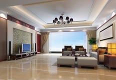 3d rinden el interior moderno de la sala de estar 1