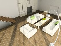 3D rinden el interior moderno de la sala de estar Imágenes de archivo libres de regalías