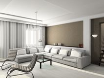 3D rinden el interior moderno de la sala de estar Foto de archivo