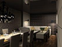 3D rinden el interior moderno del café; Imagenes de archivo