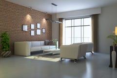 3d rinden la sala de estar moderna Fotos de archivo