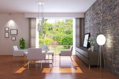 3d rinden la sala de estar moderna stock de ilustración