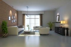 3d rinden la sala de estar moderna Foto de archivo