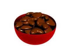 3D rindió el tazón de fuente de corazones de la tarjeta del día de San Valentín del chocolate Fotos de archivo libres de regalías