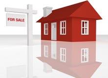 3D rindió la casa roja con la muestra del realator stock de ilustración