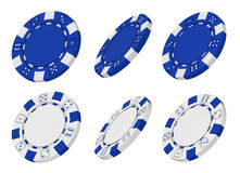 3d rindió virutas azules y blancas del casino Fotos de archivo