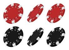 3d rindió virutas rojas y negras del casino Foto de archivo