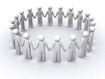 3d ring of people. 3d people holding hands in a circle Royalty Free Stock Photo