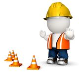 3D road worker Stock Photos