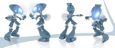 3d robot. Different views over a white background Royalty Free Stock Photos
