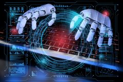 Free 3d Robot Ai Cyborg Typing On Keyboard. Sci Fi Hologram Control Panel Dashboard In HUD Style. 3d Realistic Illustration Royalty Free Stock Photos - 159186748