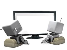 3D robot couple in front of the TV Stock Images