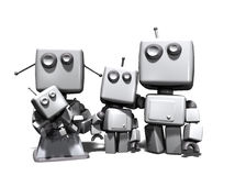 The 3D robot family. A four robots family, with mother, father, a young son and a baby; 3D computer generated on white background royalty free illustration