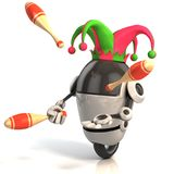 3d robot jester - entertainer. On white background Royalty Free Stock Photography