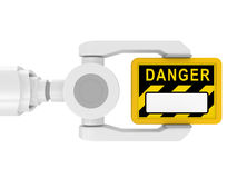 3d robotic arm, the tablet DANGER Stock Images