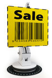 3d robotic arm with yellow sale sign. On white background Royalty Free Stock Photos