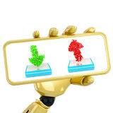 3d robotic hand hold plate with arrows Royalty Free Stock Images