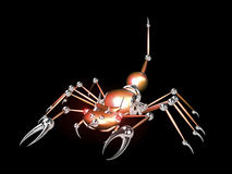 3D Robotic scorpion orange. On black background Stock Photo