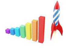 3d rocket with diagram graph bars Royalty Free Stock Photo