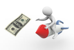 3d rocket rider and dollar note Royalty Free Stock Photography