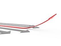 3d rode grijze hoge pijl Stock Foto
