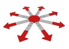 3d rode grijze pijlencirkel Royalty-vrije Stock Afbeeldingen
