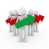 3d rode groen van de mensenpijl Stock Afbeelding