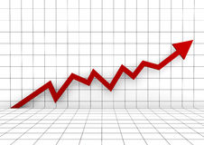 3d rode hoge pijl van de grafiekmuur Stock Afbeeldingen