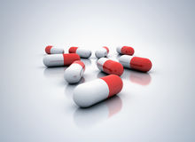 3d rode pillen geven terug Stock Afbeeldingen